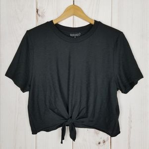Topshop | Black Crop Top Tee Shirt Size 10